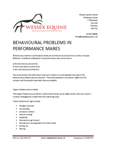 Behavioural Problems in Performance Mares
